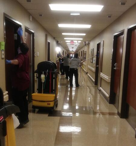 evs team cleaning hall at clark regional