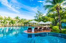 luxury umbrella poolside